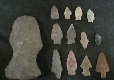 12 Indian Native American Arrow Heads & One Ax Hatchet Head