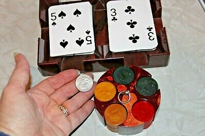 "Vintage Catalin Miniature Mini 1"" Poker Chips Rack & Bakelite Card Holder"