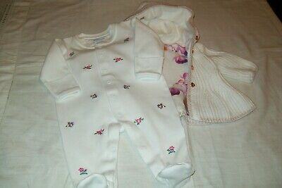 Baby girls clothes Ted Baker cardigan & Jojo Maman sleepsuit aged 0-3 months