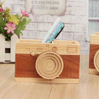 Wooden Retro Creative Camera Double Layer Pen Boxes Learning Stationery Gift BS