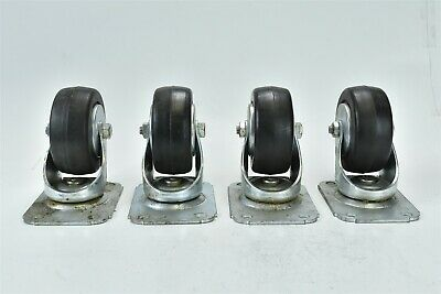 SET of 4 SWIVEL CASTERS wiith HARD RUBBER CART WHEELS #08509