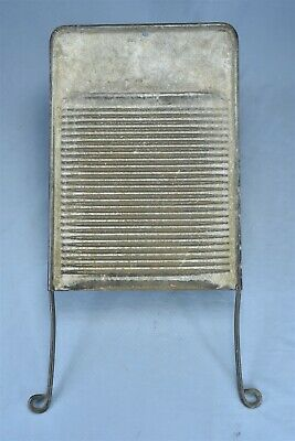 Antique SOLID METAL DOUBLE SIDED WASHBOARD PRIMITIVE LAUNDRY WASHTUB HTF #08335