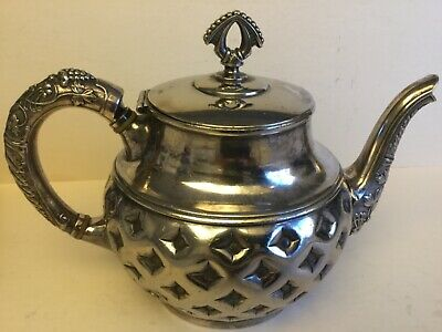Antique Meriden Silver Plated Highly Ornate  Tea Pot, Marked,circa 1869-1898