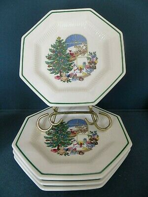 "NIKKO CHRISTMASTIME 4 Accent 8"" Salad Plates SANTA in the WINDOW Beautiful"