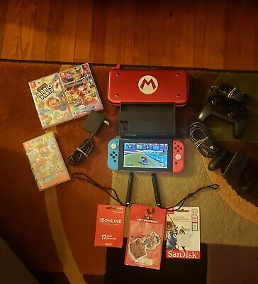 Huge Nintendo Switch Bundle- Console, 3 Games, + Many Accessories **Super Nice**