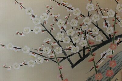 S02A3 ~梅 Beautiful White & Pink Ume Plum Tree~ Japanese Hanging Scroll