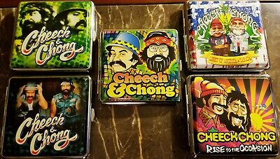 Cheech & Chong Silver Framed Double Sided PU Leather Cigarette Case