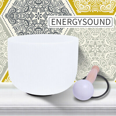 "ENERGYSOUND 8"" A 3rd Eye Chakra Frosted Crystal Singing Bowl Chakra Meditation"