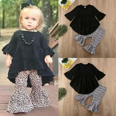 Toddler Kids Baby Girls Ruffle Tops Dress+Leopard Pants Leggings Outfit Clothes