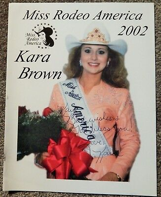 Kara Brown Personal Autograph Color Photo Miss Rodeo America 2002, Beautiful