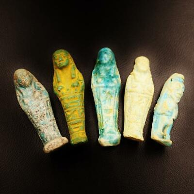 Set of 5 Ancient Egyptian Faience Ushabti (Shabti) Figure, Rare Collection