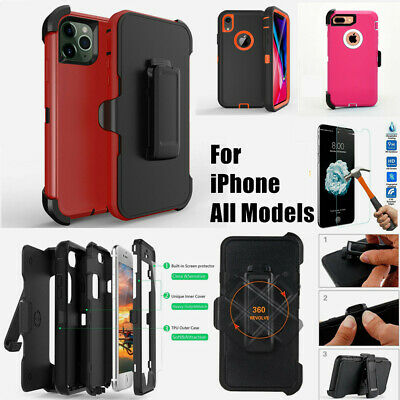 Shockproof Case For iPhone 11 XR Xs Pro Max Plus Belt Clip fit Otterbox Defender