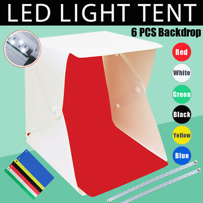 "16"" LED Light Room Tent & 6x Backdrops Photo Studio Photography Lighting Box Kit"