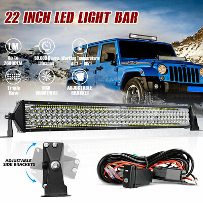 22inch 5 Rows CREE LED Work Light Bar Flood Spot Driving Offroad 23'' + Wire Kit