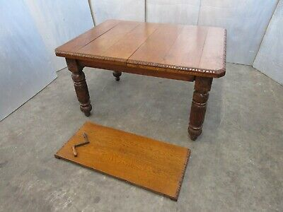 Beautiful Victorian Carved Heavy Oak Dining Table C/W Extra Leaf