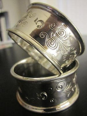 Antique Silver Napkin Rings –Etched Edges, Scroll Engraved - Pair – Number 3, 5