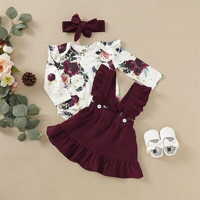 AU Newborn Baby Girl Floral Romper Jumpsuit Skirts Clothes Set Outfit Headband