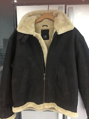 """Flying Jacket Style Smart Dk Brown Leather Suede Faux Fur Jacket 42""""Chest"""
