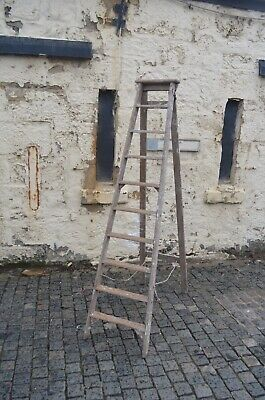 Large Old Wooden Painter Decorator Folding Stepladder With Distressed Used Look