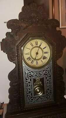 Antique American Ansonia 8 Day Dark  Oak ,Shelf Clock