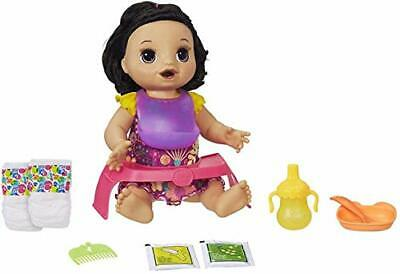 Baby Alive Happy Hungry Baby Black Straight Hair Doll, Makes 50+ (Standard)
