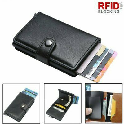 Leather Credit Card Holder Money cash Wallet Mens Clip RFID Blocking Purse CA
