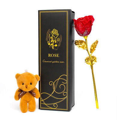24k Gold Plated Rose Flower Anniversary Girlfriend Wife Romantic Gift Teddy Bear