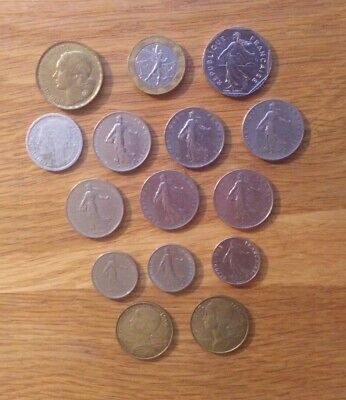 French Franc Coin Bundle/Joblot. 15 coins 1948 - 1997. See list.