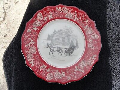 222 Fifth Andover Red Scalloped Rim Cabin & Sleigh Center Off White Salad Plate