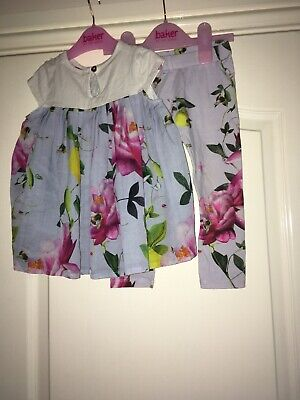 Ted Baker Blue Floral Leggings And Top Outfit Size 2-3 Years