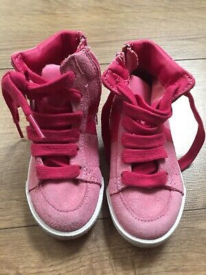 Girls M&S Marks&Spencer Pink Suede Leather Shoes Size 6 Infant