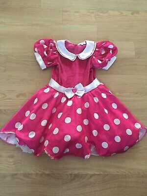 Disney Girls Pink Spotted Minnie Mouse Dressing Up Dress Puffball Age 7-8