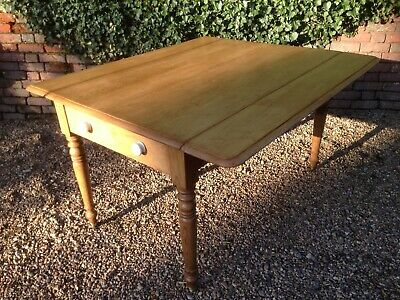 Early Victorian Large Farmhouse Kitchen Drop Leaf Table