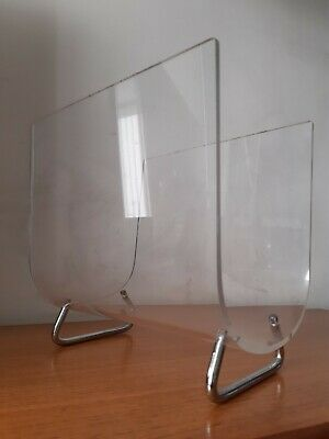Vintage Mid Century Modern Clear Perspex Acrylic Magazine Rack With Chrome Legs