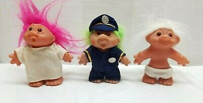 """Vintage Troll Doll Action Figure Toy DAM Norfin 5"""" 1980s Lot Police Baby Nurse"""