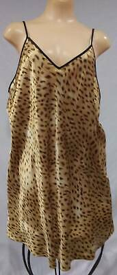 Sexy Vintage 90s Chemise Nightgown Secret Treasures SATIN Leopard Print 3X