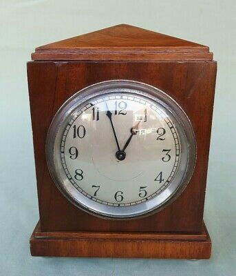 Lovely 1938 Small French Wood Cased Mantel Clock, Working
