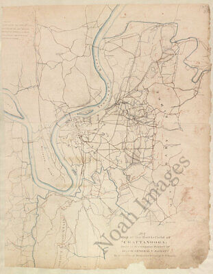 Map of the battlefield of Chattanooga TN c1864 repro 18x24