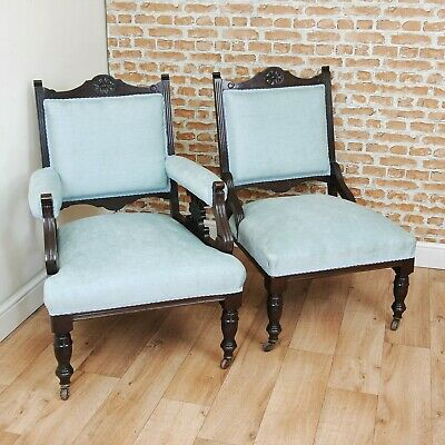 Antique Edwardian Carved Mahogany Ladies and Gents Armchair Fireside Chairs 1900