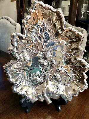"""Sheridan Silverplate Strawberry Leaf Design Tray Dish Repousse 11"""""""