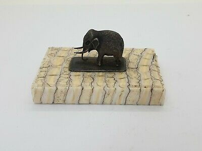 Silver Elephant on Genuine Polished Fossilized Mammoth Tooth Plinth Paperweight