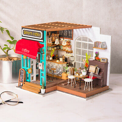 Wooden Dollhouse Furniture LED Miniature DIY Toy Gift for Kids Girl Women Adults