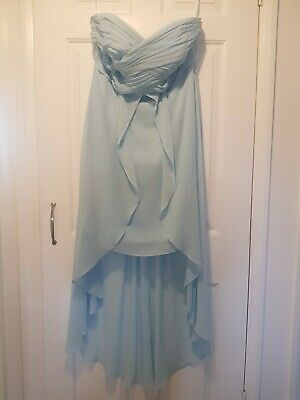 David's Bridal Pretty Blue Bridesmaid Dress 12 Large Chest
