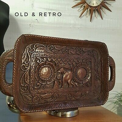 Antique Vintage Hand Carved  Wooden ethnic indian Tray Elephant wall art boho