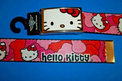 New HELLO KITTY Sanrio Womans All Size Fabric Belt Pink Cotton NWT