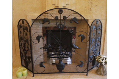 Vintage Antique Iron Ornate Birds Arched Mesh Fire Guard Screen Surround Black