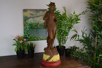 Antique Large Spelter Figure With Painted Base