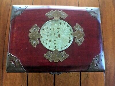 Vintage Shanghai Chinese Jewelry Box With Jade Carving & Ornate Brass Decoration
