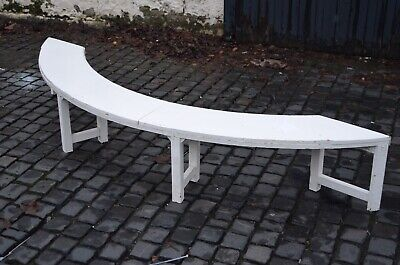 Antique White Painted Victorian Large Bay Window Wooden Seat Bench