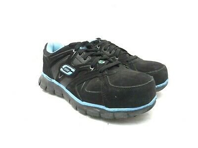 Skechers Women's Synergy Sandlot Alloy Toe Lace-Up Work Shoes Black/Blue 8M